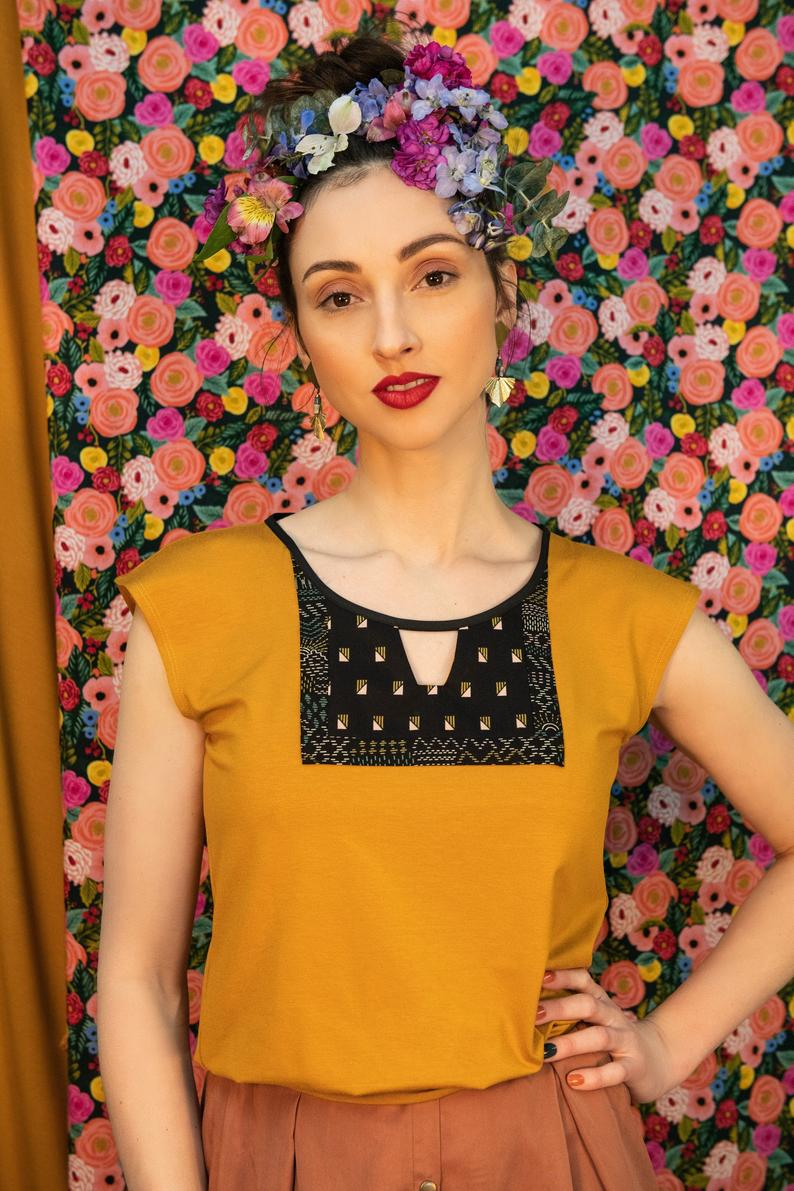 Orvieto Top by Kazak, Mustard, OEKO-TEX viscose, patterned cotton inset, cut-out detail, sizes XS to L, made in Montreal