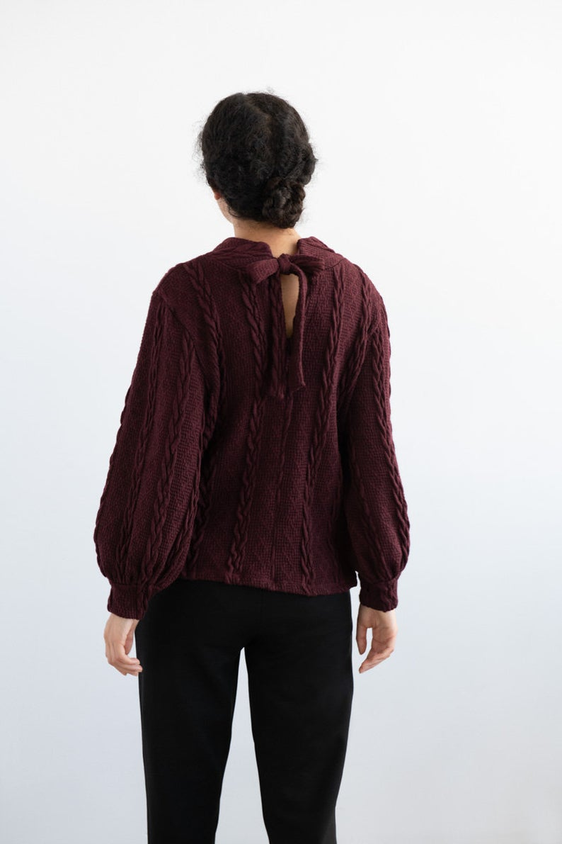 EVE LAVOIE Polaroid Reversible Sweater in Burgundy Braided Knit FW2020/2021 (full-length, rear view)