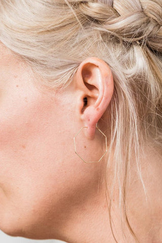Dainty Hexagon Hoops