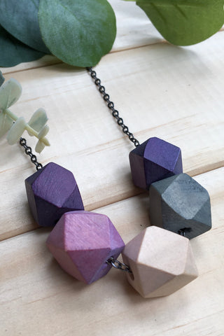 Wooden Hex Necklace - Jewel Tones