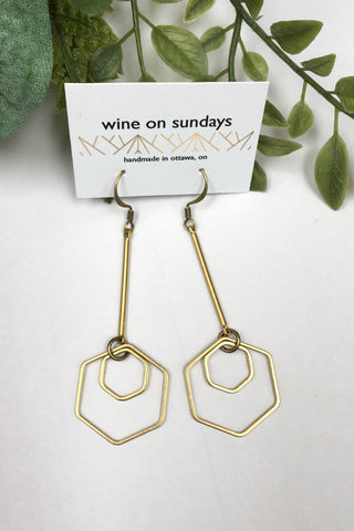 Double Hex Dangle Earrings