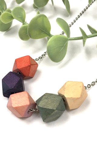 Wooden Hex Necklace - Multi