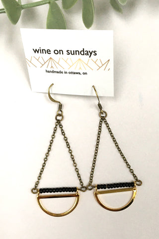 Brass Semi Circle Dangle Earrings