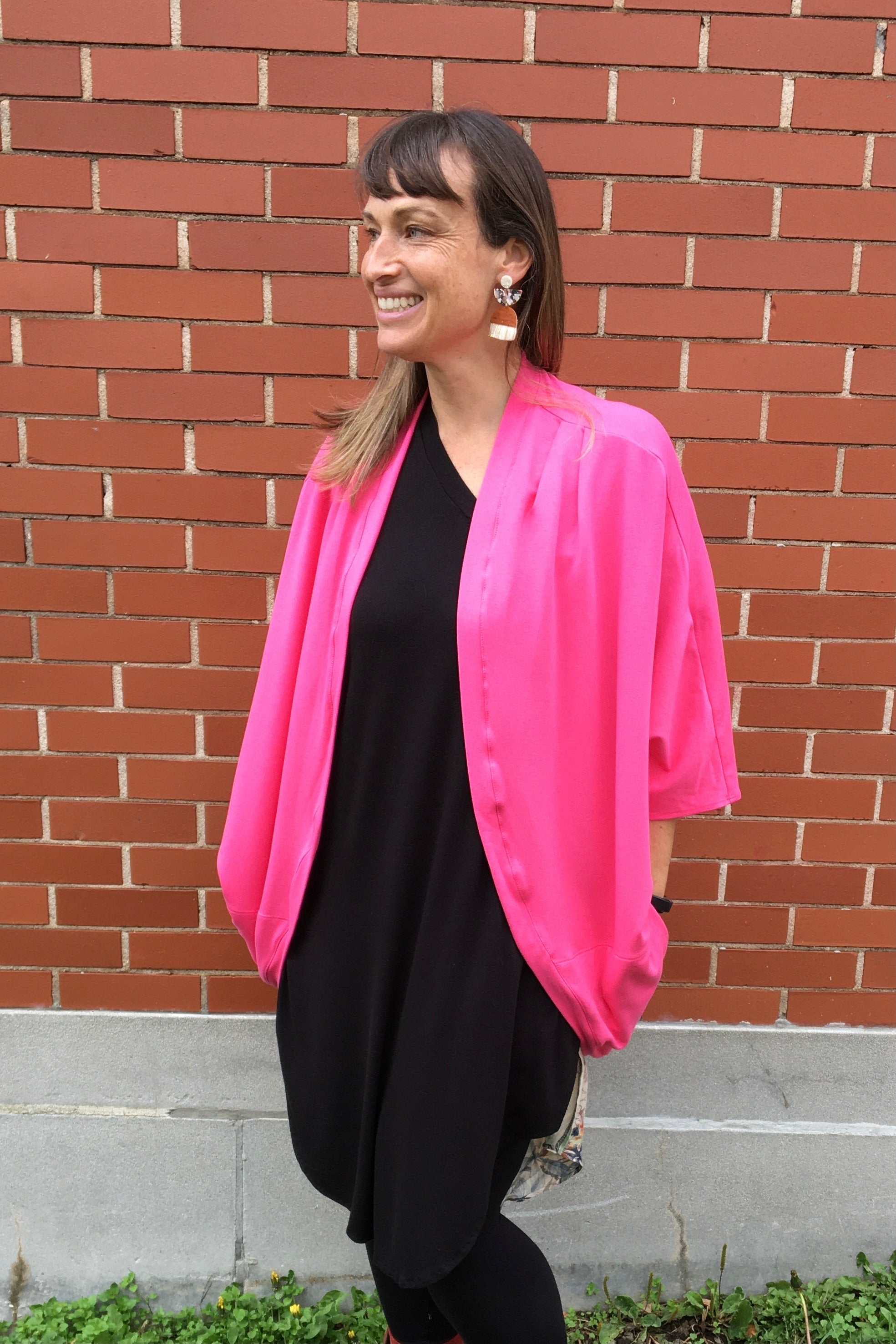 STEPHANIE DAVIS Pippa Shrug in Pink (side view) FW2020/2021 one-size-fits-most