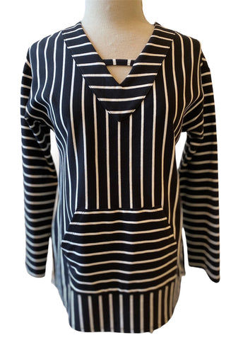 Long Sleeved Striped Knit Top