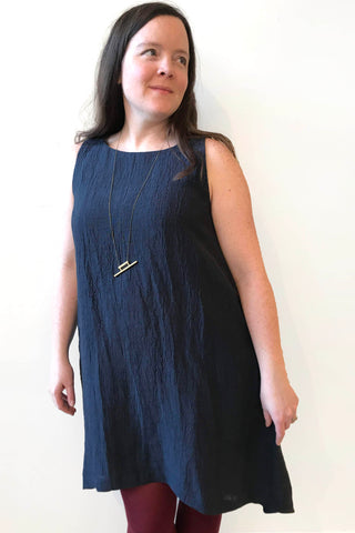 Violet Dress by Copious, Indigo, sleeveless, A-line, asymmetrical hem, cotton linen, sizes XS to XL, made in Canada