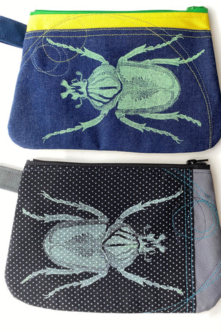 Cynthia DM waterproof pouches-Polka Dot Beetle and Beetle on denim