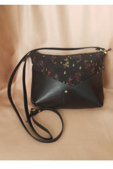 Woodstock Recycled Leather Shoulder Bag Black with Koi Motif