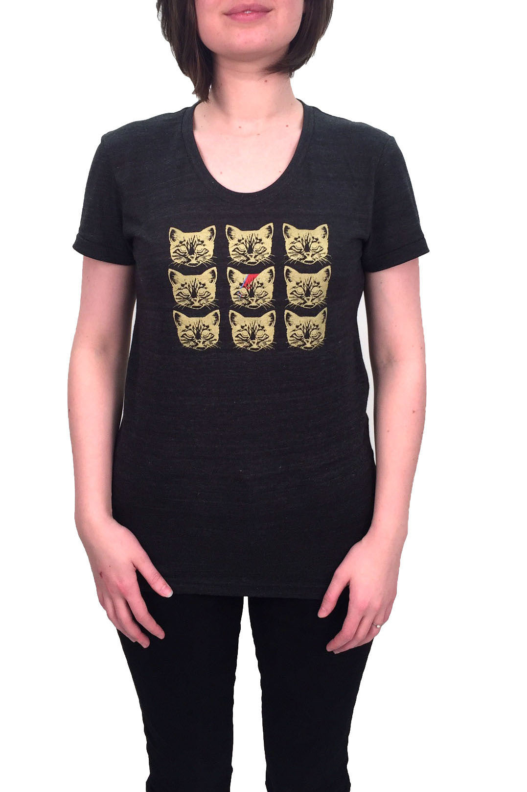 Charcoal David Bowie inspired Kitty Stardust Tee. Women's size S to XL