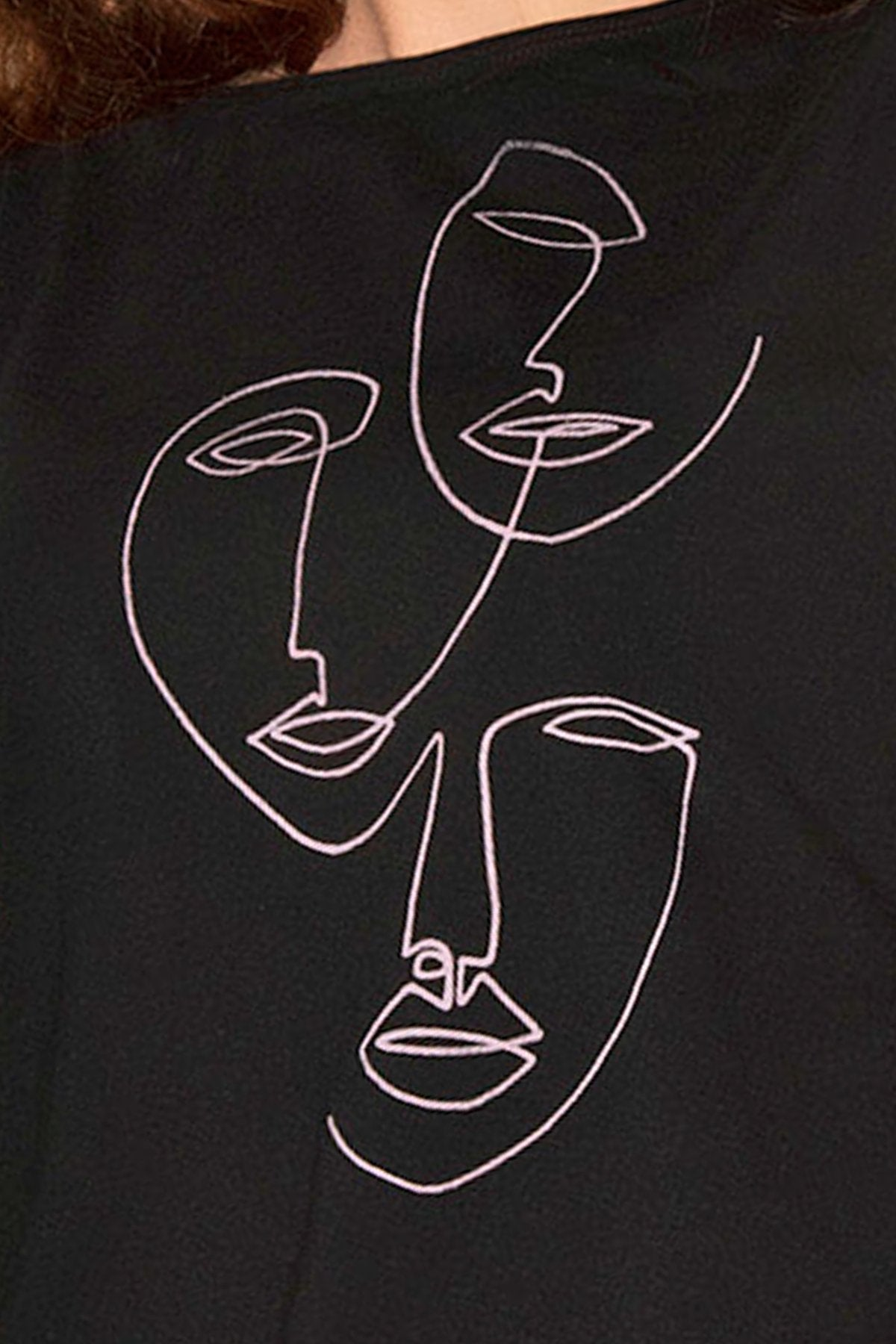 Kline Tank Top by Eve Lavoie, Black with Faces, organic cotton, hip length, fitted, sizes XS to XL, made in Quebec