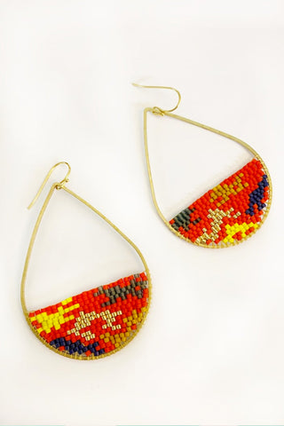 Large Teardrop Ikat Beaded Earrings  -MADE TO ORDER