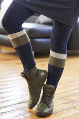 Frimas Leggings by Rien ne se Perd Tout se Cree, Navy and Khaki, wide stripe, rayon, sizes XS to XXL, made in Quebec