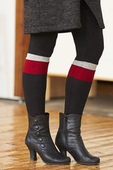 Frimas Leggings by Rien ne se Perd Tout se Cree, Black and Bordeaux, wide stripe, rayon, sizes XS to XXL, made in Quebec