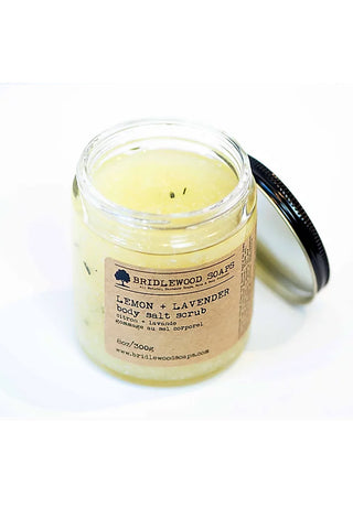 BRIDLEWOOD SOAPS Lemon & Lavender Body Salt Scrub (open lid)