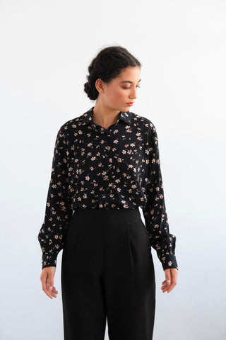 Lindbergh Black Floral Long Sleeve Blouse