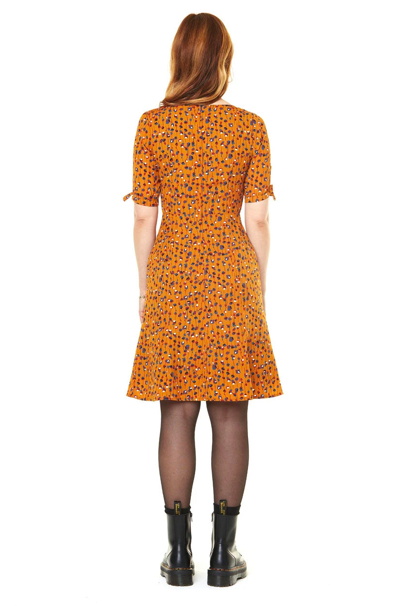 Lola Dress Mustard Flowers FW2020 Annie 50 back view made in canada