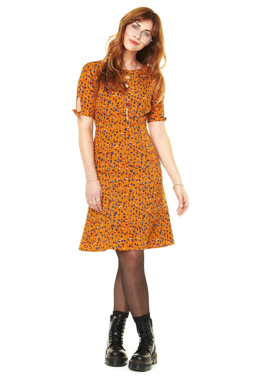 Lola Dress Mustard Flowers FW2020 Annie 50 front view made in canada
