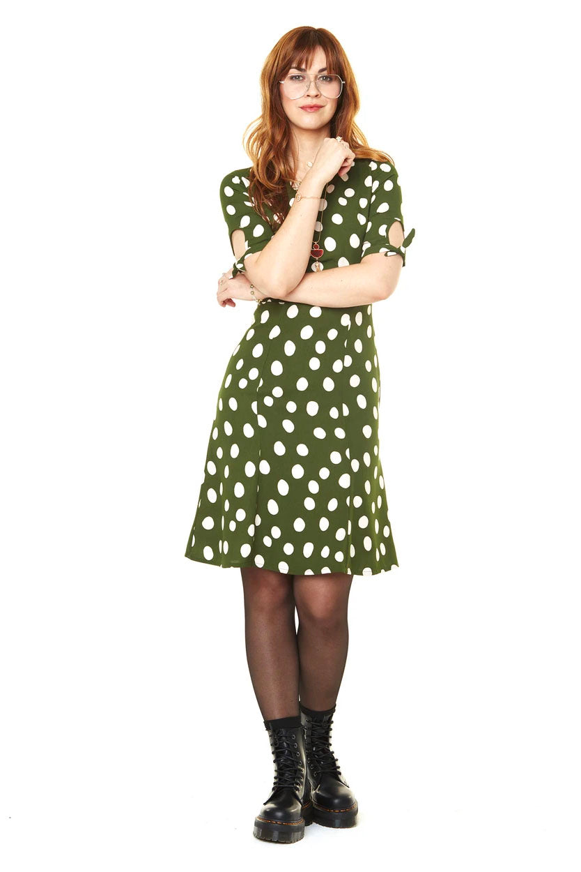 Lola DresLola dress  Green Dots  FW2020 Annie 50 front view made in canada