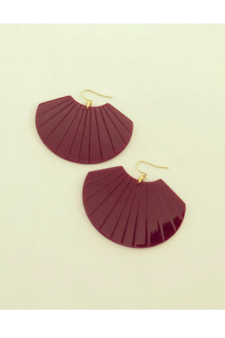 Lottie earrings by Darlings of Denmark; acrylic shell-shaped earrings in wine; flat lay