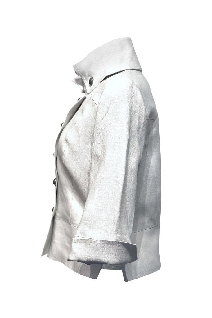 Cropped Linen Jacket by Lousje and Bean, side view, silver, diagonal buttons, high collar, wide waistband, sizes XS to XXL, made in St. Catharine's Ontario