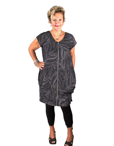 Lucy Dress by Lousje and Bean, black and grey swirl pattern, V-neck, cap sleeves, metal front zipper, 100% linen, sizes XS to XXL, made in St. Catharine's,