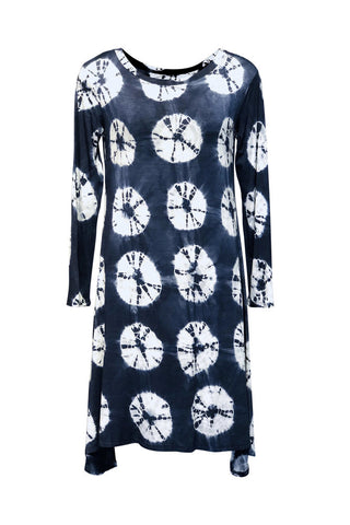 Marjo Dress by Lousje and Bean, shibori dye print, blue and white, long sleeves, asymmetrical hem, bamboo/spandex, sizes XS to XXL, made in St. Catharine's Ontario