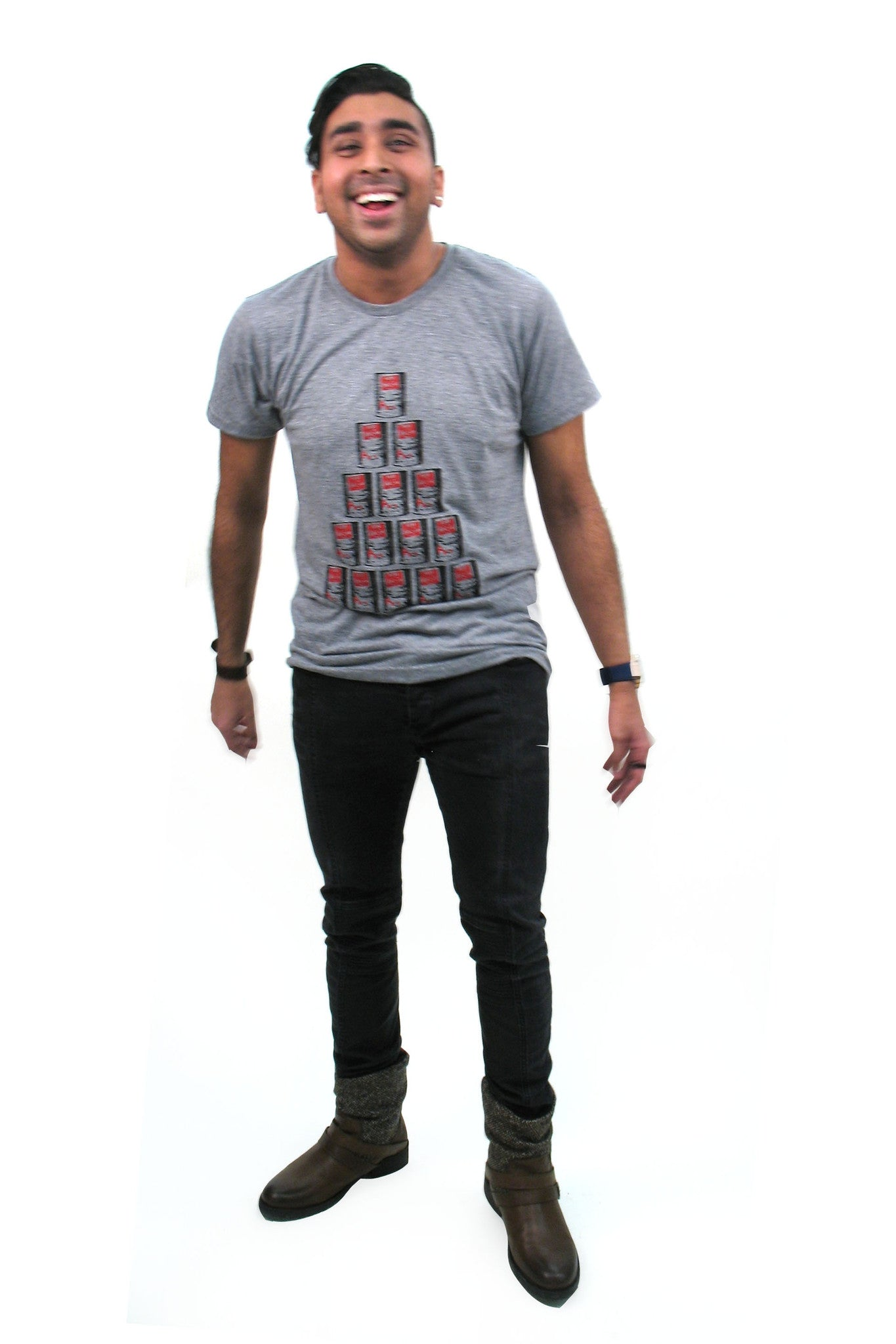 Workshop Boutique's Own Men's Maple Syrup Tee in Heather Grey - Hand printed in Ottwa