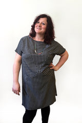 Yoana Dress by Melow par Melissa Bolduc, Black Stripe, loose fit, boat neck, short sleeves, mid-thigh, triangular panels, sizes XS to XXL, made in Quebec