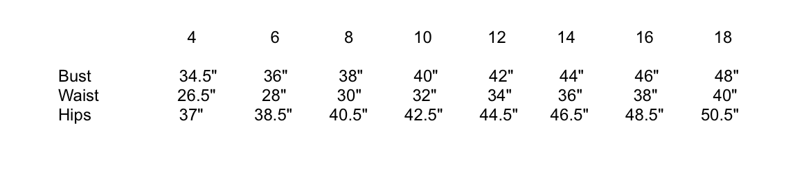 Melow Size Chart
