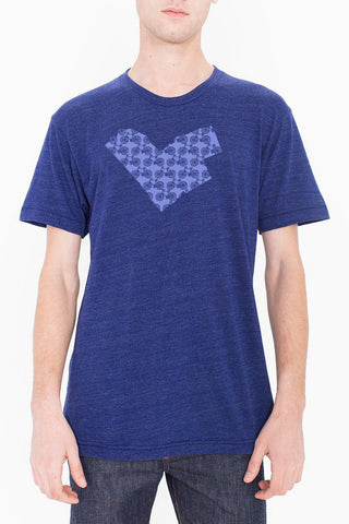 Workshop Studio, Ottawa, Bike Love, Map Tee. Handprinted in periwinkle. Made in Ottawa, Canada