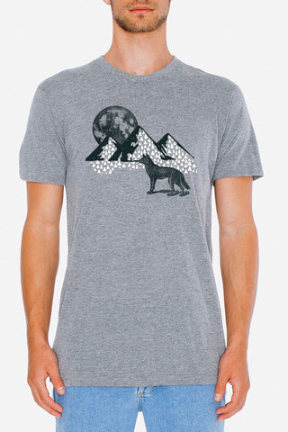 Wolf and Moon - Athletic Grey Men's Tee