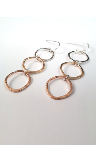 mikel grant trimetal cubes earrings, handmade in Vancouver