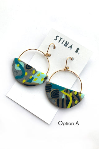 Black Glittery Polymer Clay Arch Dangles w/ Raw Brass accents Earrings