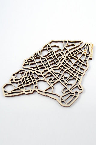 "The National Design Collective Montreal Laval ""I Kinda Like it Here"" Wood Coaster. Made in Canada"