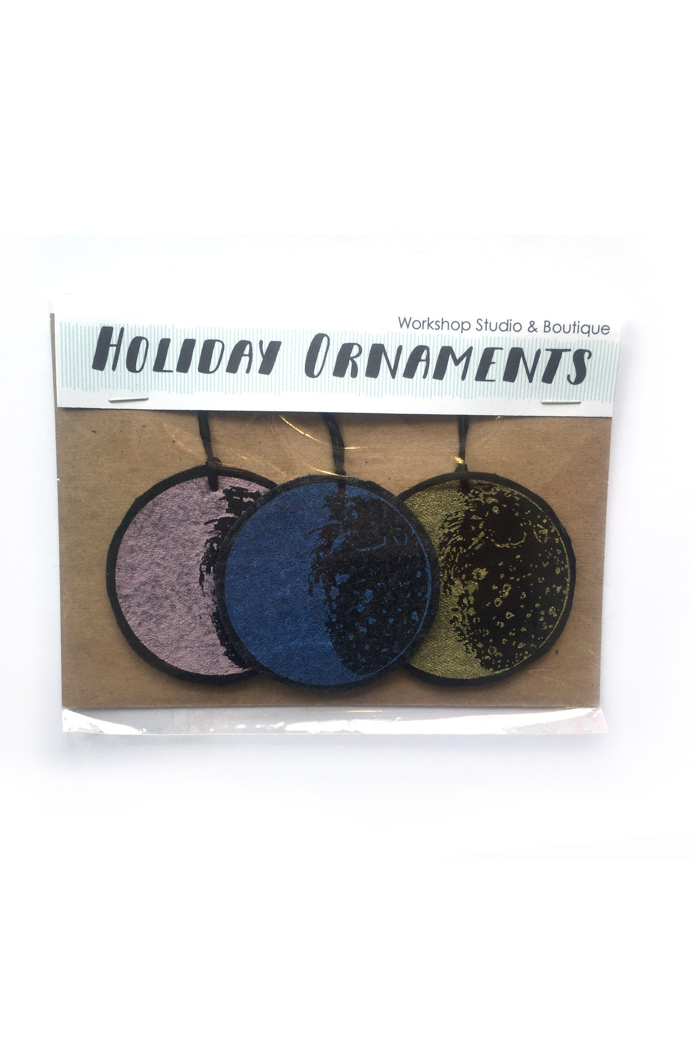 Workshop handmade silkscreen ornament sets, 3 different coloured moons. made in Ottawa Canada