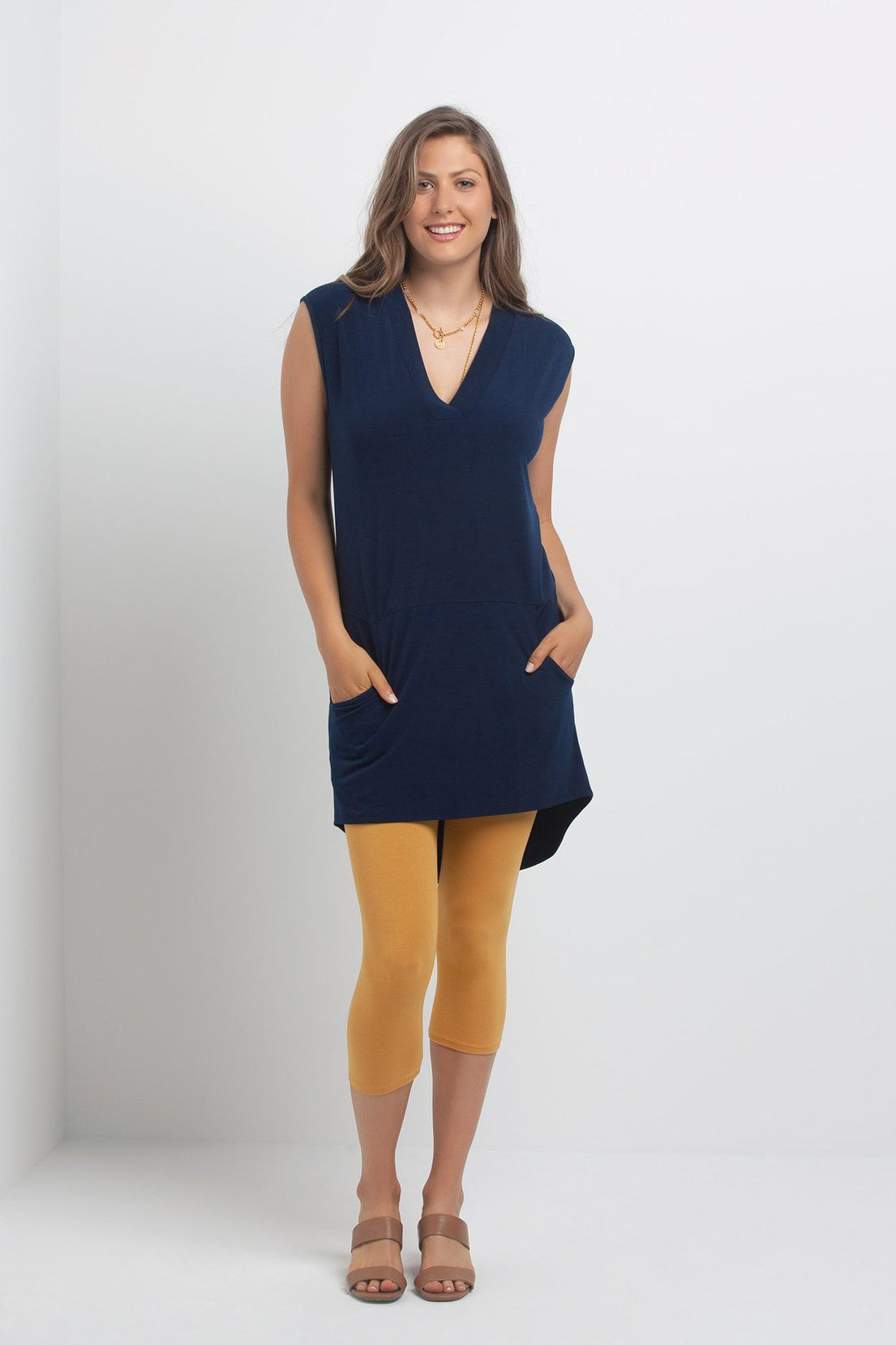 Morticia Dress by Kollontai, Navy, sleeveless, V-neck, high-low hemline, pockets, sizes XS to XXL, made in Montreal