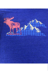 Workshop Studio, Moose and mountain, hand silkscreened tee detail