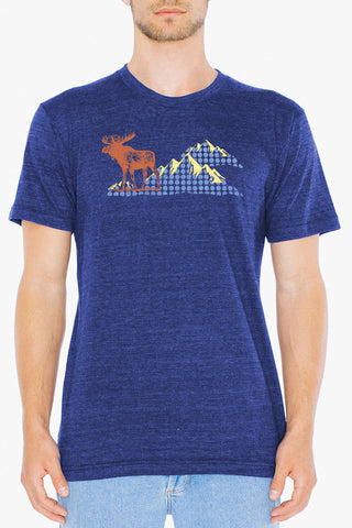 Workshop Studio, Moose and mountain, hand silkscreened tee. Metallic gold, coral and periwinkle on indigo. Made in Ottawa, Canada