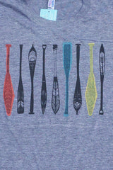 Workshop Studio Athletic Grey Multi colour Paddles Tee detail, hand silkscreened in Ottawa Canada sizes S to XL