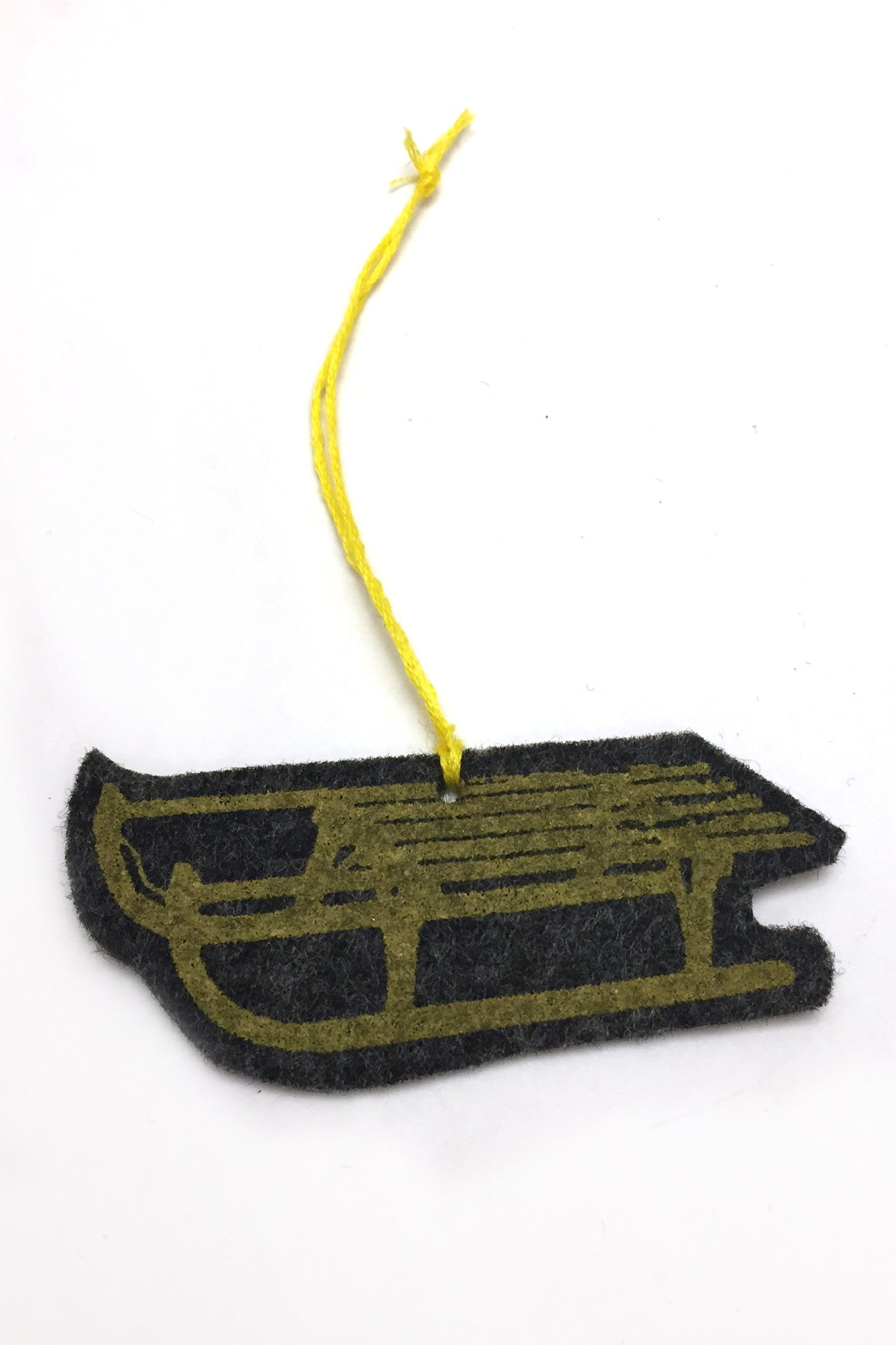 Mustard sled ornament detail