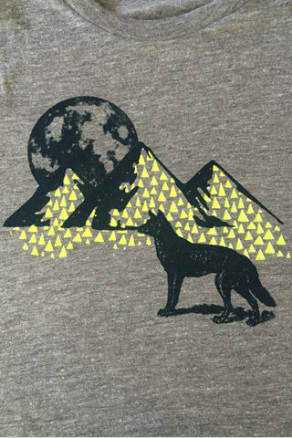 Workshop Studio, Full Moon and Wolf, hand silkscreened tee. Neon Yellow and steel blue detail. Made in Ottawa, Canada