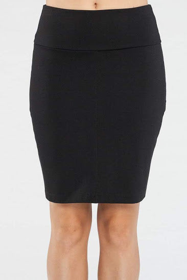 Dylan Skirt by Kollontai, Black, pencil skirt, double knit, wide waistband, slit at the back, sizes XS to XL, made in Montreal