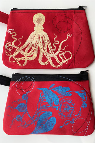 Cynthia DM waterproof pouches-Cream Octopus and Blue Flowers