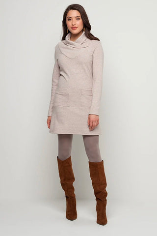 KOLLONTAI Otis Tunic in Oatmeal FW2020/2021 (full-length, front view)