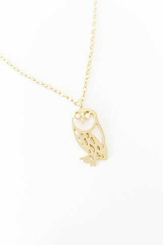 Small Owl 14kt Gold Plated Necklace