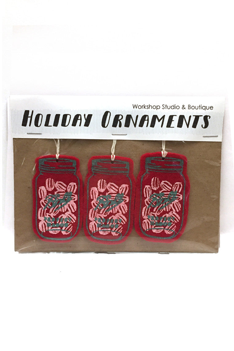 Workshop handmade silkscreen ornament sets, 3 peppermint filled mason jars. made in Ottawa Canada