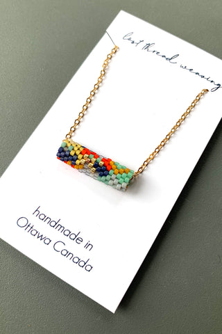 Beaded Tube Necklace - Abstract Multi Colour