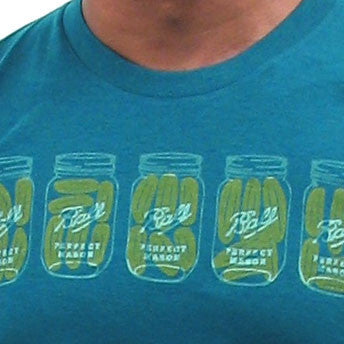 Hand silkscreened Men's Tee with Pickles and Mason Jars handmade in Ottawa