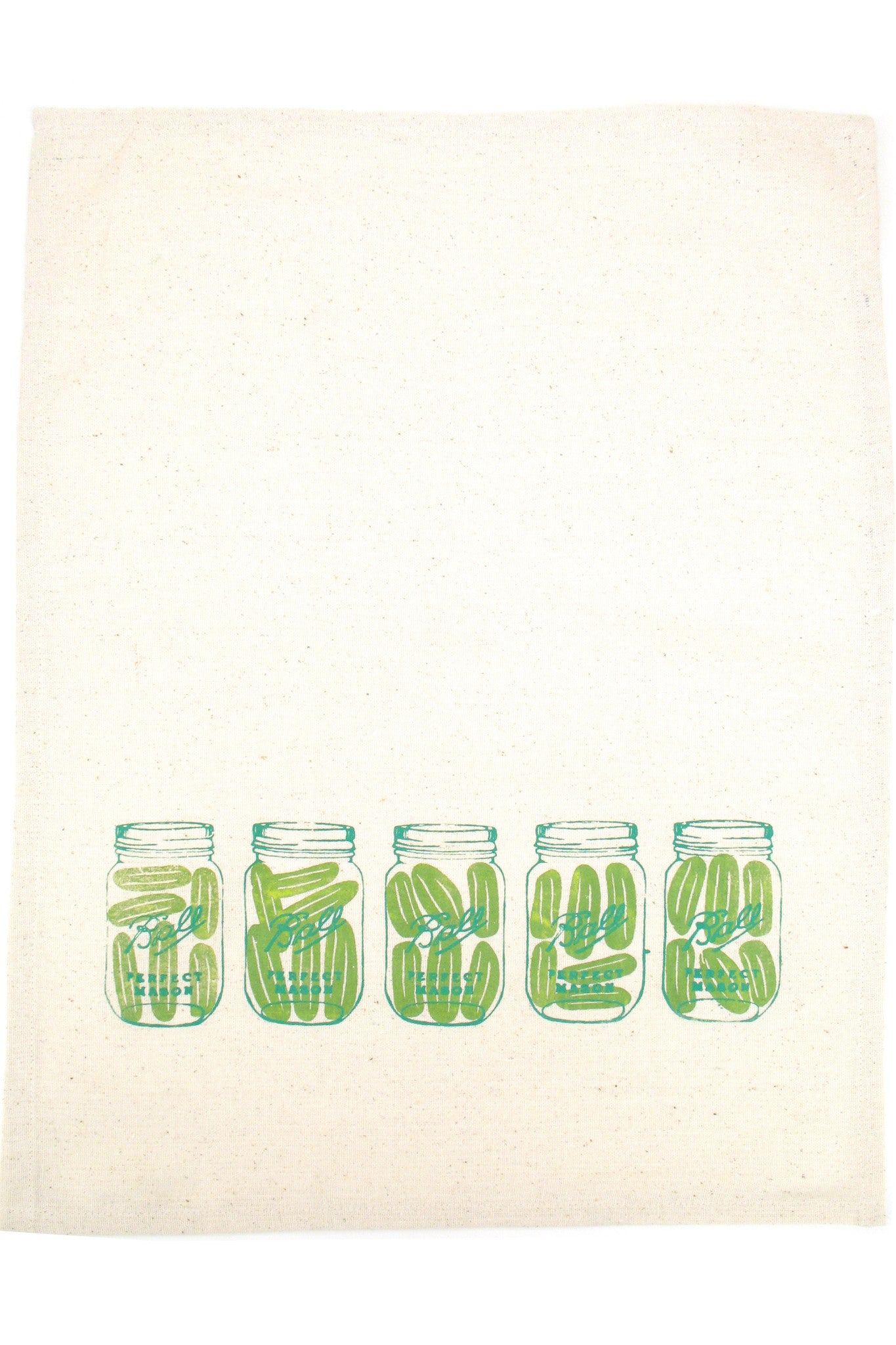 hand printed mason jar tea towel
