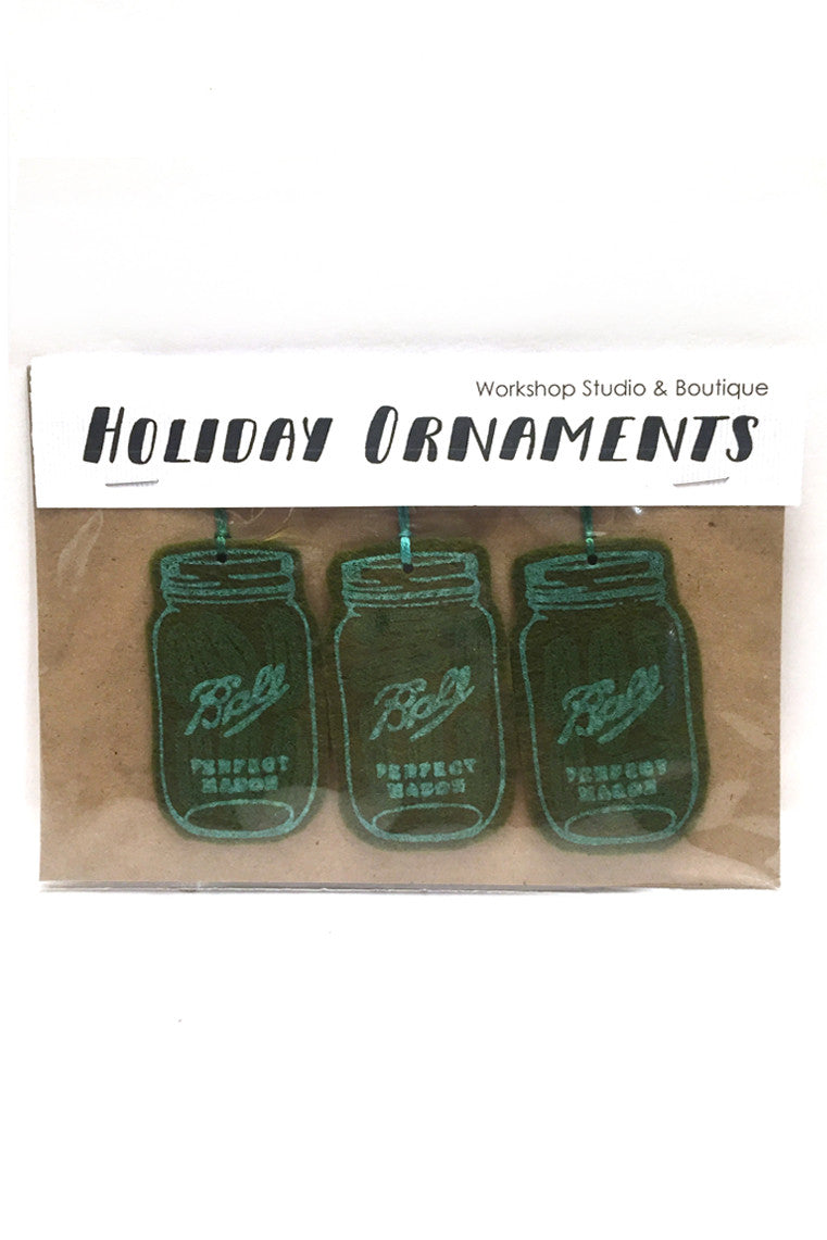 Workshop handmade silkscreen ornament sets, 3 pickle jars. made in Ottawa Canada